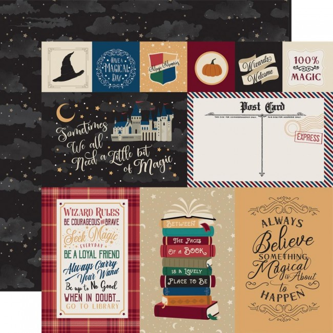 Papier Imprimé Recto-verso 12x12 Witches & Wizards Journaling Cards