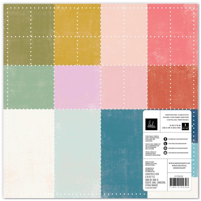 Papier Perforé 12x12 Old School Perforated Color Cardstock