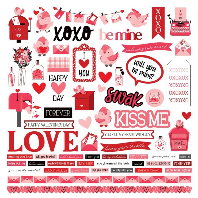 Autocollants 12x12 Love Letters Elements