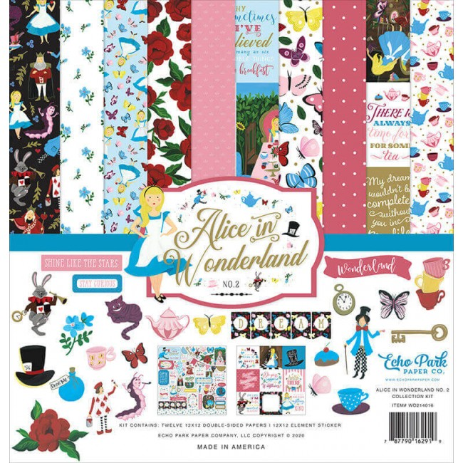 Kit Papiers Imprimés 12x12 Alice In Wonderland No. 2