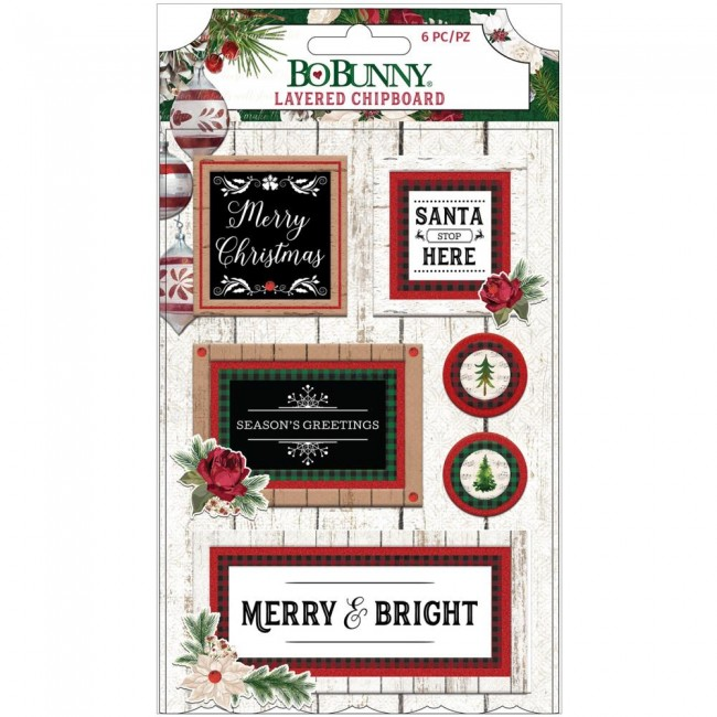 Lot d'Autocollants Chipboard 3D Joyful Christmas With Red Glitter Accents